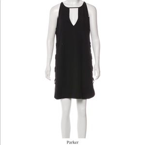 Parker Black Casual Lace Up Shift Dress M 6 8